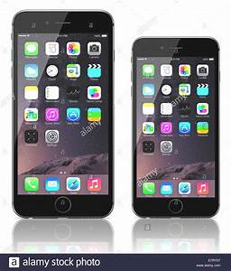 Apple Space Gray iPhone 6 Plus and iPhone 6 showing the ...