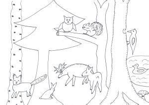 blaettercollage wald bei tag mit tieren natur basteln meine enkel und ich