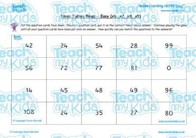 times tables bingo easy x6 x7 x8 x9 teach my kids
