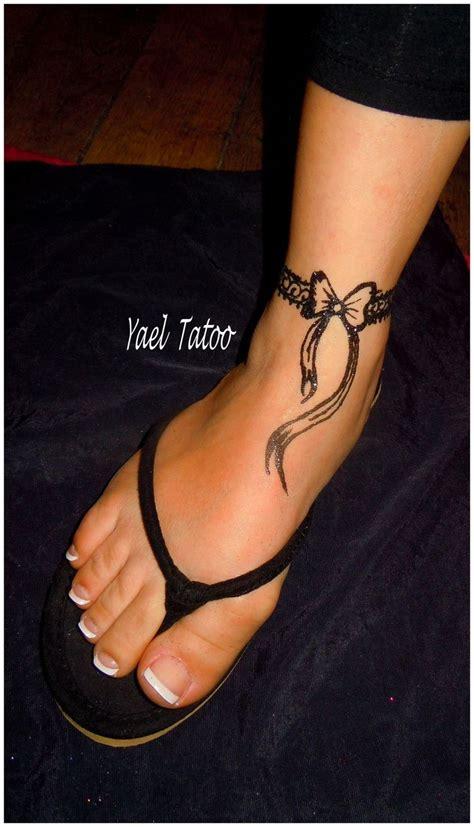 Tatouage Bracelet Cheville Dentelle Noeud Tattoo