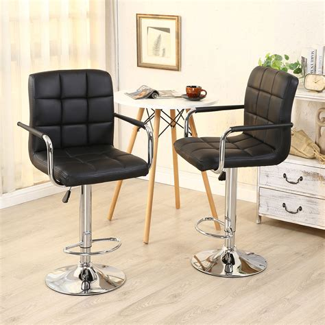 Black Bar Stools With Arms by 2pc Black Pu Leather Adjustable Height Swivel Bar Stool