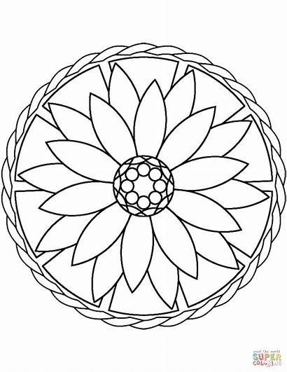 Coloring Mandala Simple Flower Pages Printable Drawing
