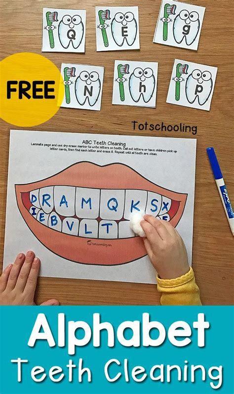 alphabet teeth cleaning activity  dental health month