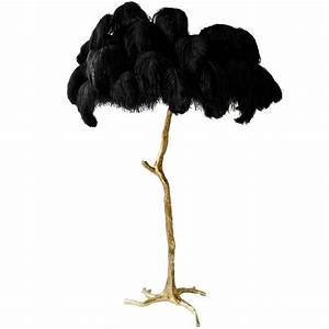 exquisite hollywood regency sculptural ostrich feather With pink tree floor lamp