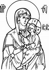 Coloring Theotokos Icon Orthodox Pages Icons Joseph Mother Child Religious Sketch Christ Orthodoxy Template Mary God Drawing Byzantine Holy Line sketch template