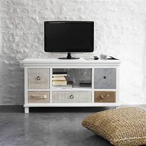 meuble tv en bois blanc l 110 cm idees decoration With meuble 110
