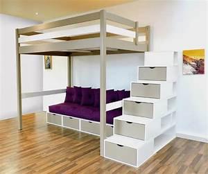 Mezzanine sylvia avec escalier cube bois mezzanine for Amenagement chambre ado avec karup futon