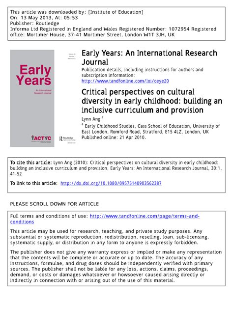 critical perspectives  cultural diversity  early