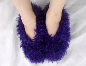 Fuzzy Bedroom Slippers womens bedroom slippers fluffy fuzzy purple hand by