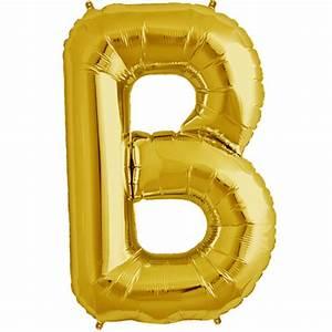 34quot gold letter b foil balloon With black foil letter balloons
