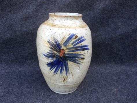 large signed oval studio pottery vase