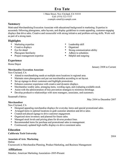 merchandiser resume sles visualcv resume sles