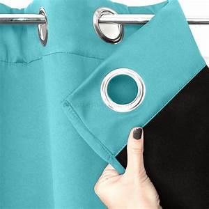 Rideau Bleu Turquoise : rideau obscurcissant isolant calore 140 x h260 cm bleu turquoise rideau isolant eminza ~ Teatrodelosmanantiales.com Idées de Décoration