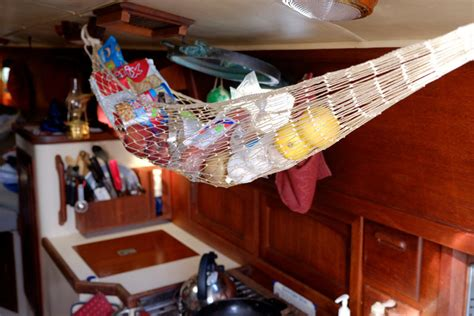 Hammock Food storing food on a small sailboat for term cruising