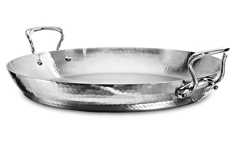 mauviel melite hammered stainless steel paella pan   cutlery