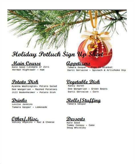 potluck signup sheet templates  sample