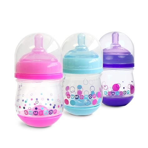 The First Years Gumdrop Wide Neck Bottle 3 Pack 4 Oz Girl