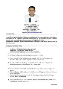 chef de partie resume cv shanu senior chef de partie doc1