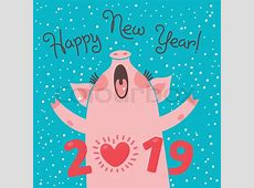 Happy 2019 New Year card Funny piglet congratulates on
