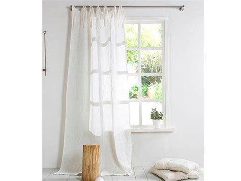 White Linen Curtain Linen Curtain With Ties Stone Washed