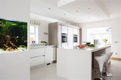 contemporary small kitchens modern white gloss driftwood kitchen with fish tank 2545