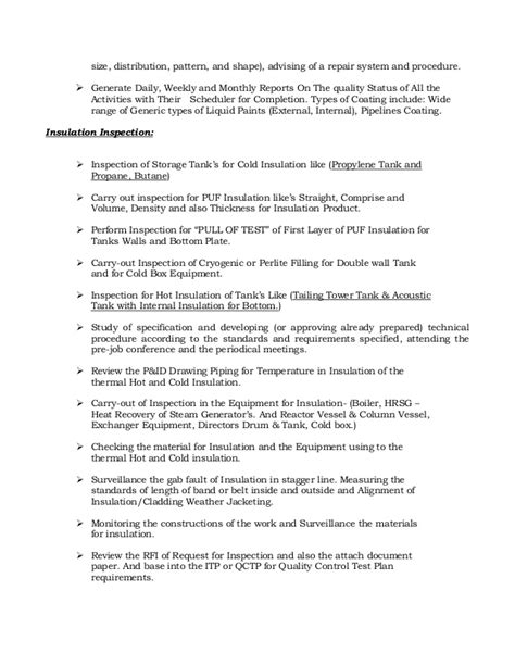 Industrial Spray Painter Resume Template by Resume Of Qaqc Inspector Coating Painting And Insulation