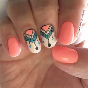 Coral tribal nail art design | nails | Pinterest | Powder ...