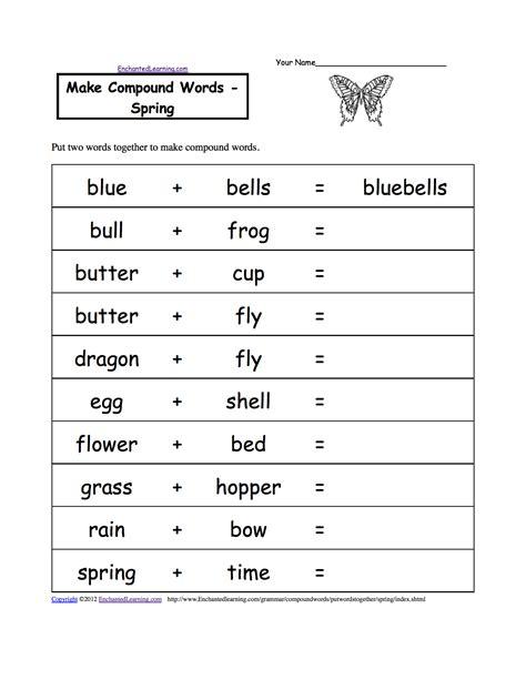 make compound words printable worksheets