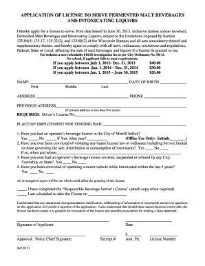 bartender application form fill online printable