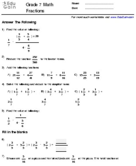 fraction worksheet  grade  fraction worksheet