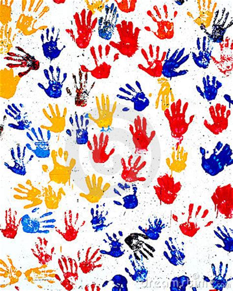 childrens handprints  paint   wall stock image