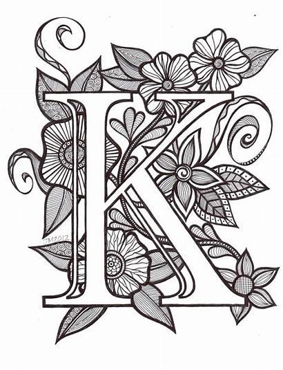 Coloring Letter Fancy Letters Tattoo Font Monogram