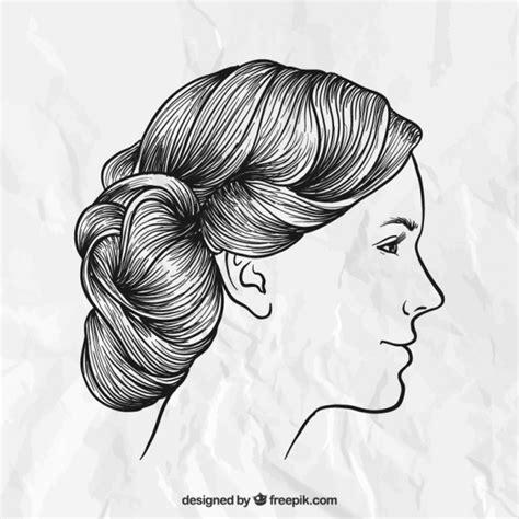hand drawn female hairstyle vector premium