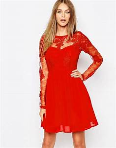 Missguided missguided premium lace long sleeve skater for Robe patineuse femme