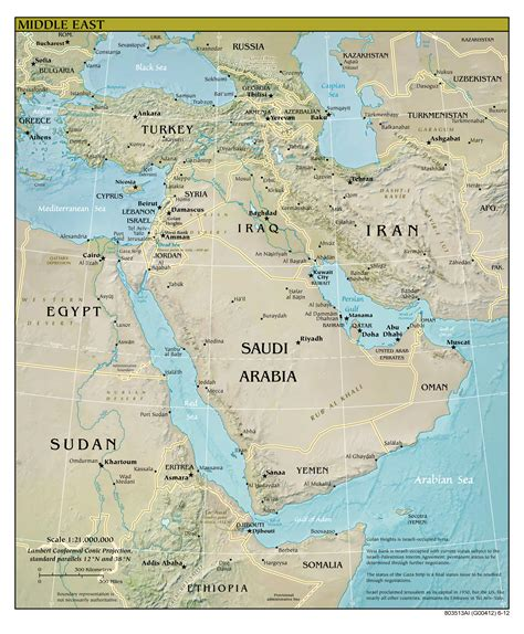 large detailed relief  political map  middle east