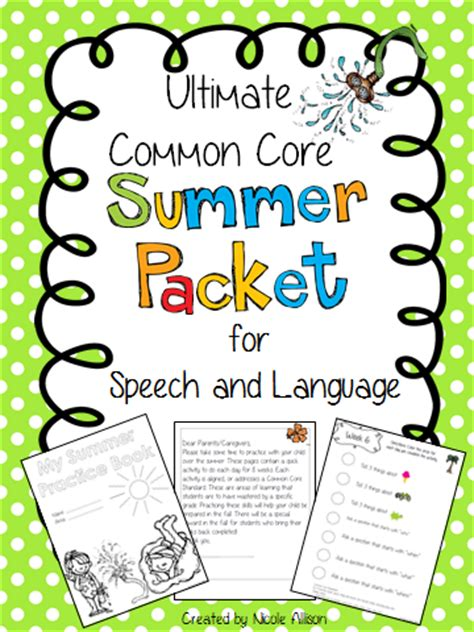 Common Core Summer Packets For Speech And Language  Speech Peeps