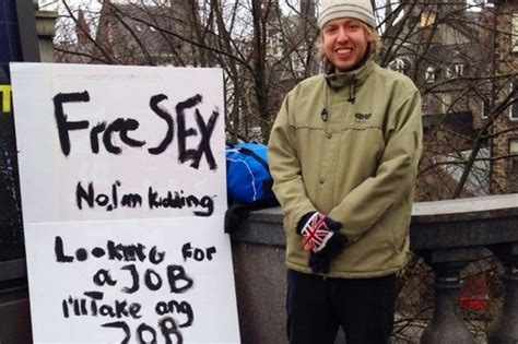 Unemployed Man In Aberdeen Holds Up Free Sex Sign In Street In Bid To Get Job Daily Record