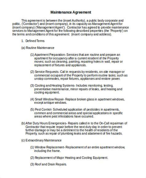 maintenance agreement templates   word