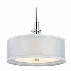 Drum pendant lighting white : Double organza drum pendant light chrome inches wide