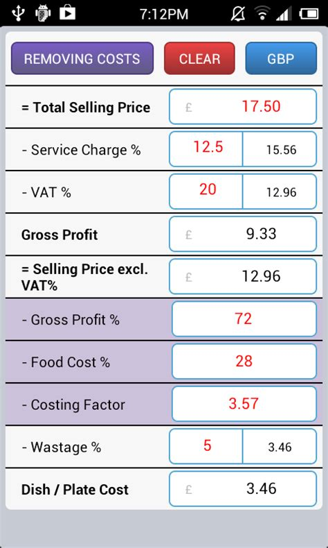 id馥s cuisine simple food costing made simple android apps on play
