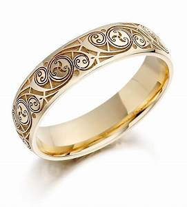 Celtic Wedding Ring Mens Gold Celtic Spiral Triskel