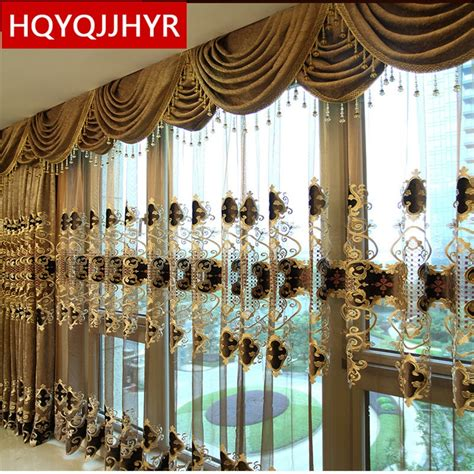 gold curtains living room european luxury king brown embroidered gold curtains