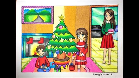 gradasi warna tema natal drawing christmas