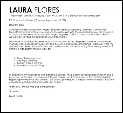 construction project engineer cover letter sample cover