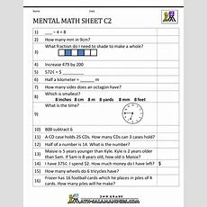 Mental Math Worksheet 2nd Grade
