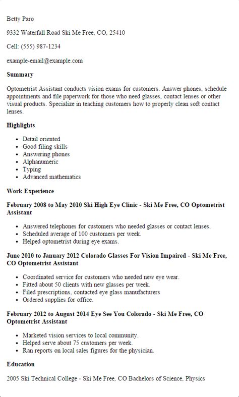Letter For Optometric Assistant by Best Optometric Technician Resume Sles