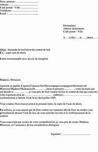 Remboursement Assurance Emprunteur Lettre Type : exemple de lettre de r siliation du contrat de bail d 39 un logement suite un d c s ~ Gottalentnigeria.com Avis de Voitures