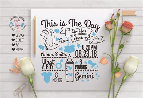 Having a new addition to the family is always exciting news. Baby Boy Birth Announcement - Chart in SVG, DXF, EPS, AI ...