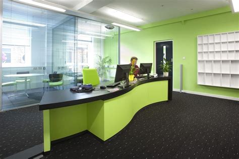 office reception interiors cool ideas for office reception area with green wall decor Modern
