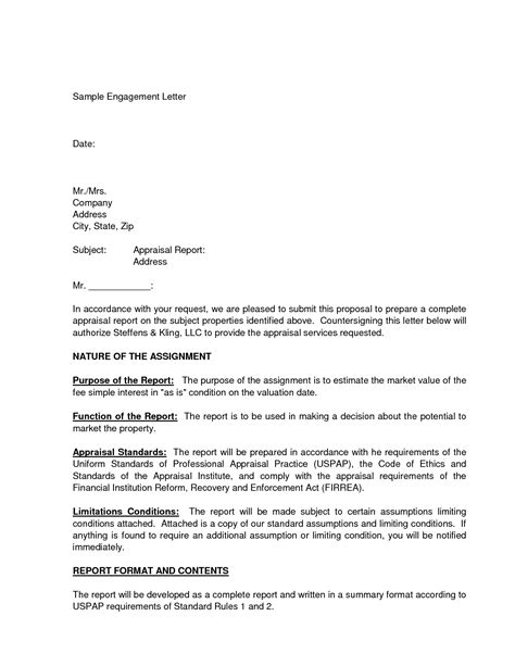 Engagement Letter Template by Letter Of Engagement Template Free Letters Engagement